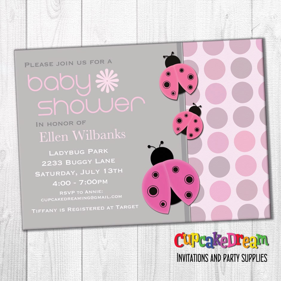 Ladybug Baby Shower Invitation Girl Baby Shower