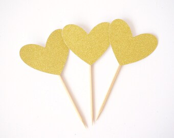 SALE - Gold Glitter Heart Cupcake Toppers, Valentines Day , Valentines Day Decorations