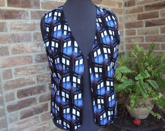 """Dr. Who """"call box"""" , tardis  adult vest--only one made--adult size Med.  36"""" chest"""