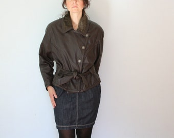 80s Brown Bomber Jacket Womens Leather Biker Made in Italy Medium Large
