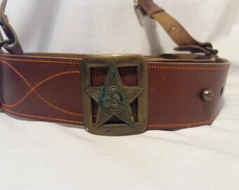Vintage 1980's Soviet Red Army Brown Leather Officer's Belt with Shoulder Belt - SET