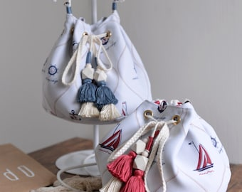 Sailing Ship bucket bag, ocean style red and blue tassel bucket bag