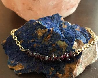 Small Garnet Gold Bracelet