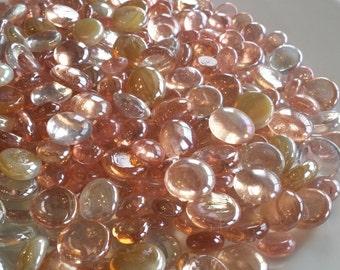 Vase Filler, Pink, Champagne & Clear Flat Back Glass Gem Mix-DISCOUNTED BULK OPTIONS-Flat Marbles, Mosaic Tiles, Floral, Wedding, Pebbles