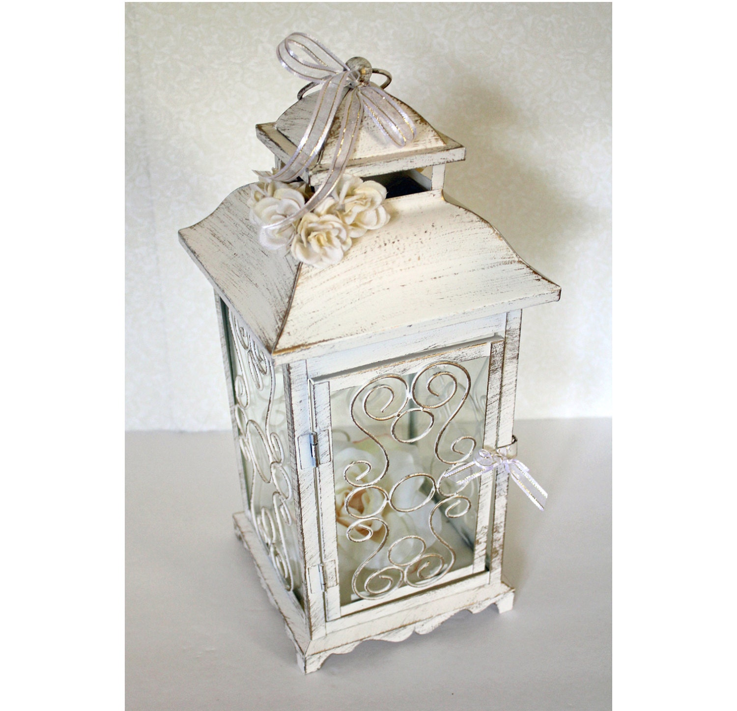 Wedding Lantern Centerpiece 10in Vintage Antique Ivory