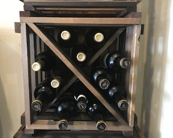 Rustic Wine Rack - Wine Cube - Wine Storage - Wine Gift - Storage and Organizer - Wood Storage Bar Restaurant Farmhouse Home Shabby Chic