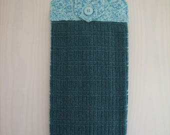Teal Hanging Kitchen Hand Towel with Cotton Top, Kitchen Decor, Summer Decor, Gift for Her, Housewarming Gift