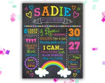 Girl's Rainbow Birthday Chalkboard - Rainbow Birthday Any Age - Birthday Decor - Milestone Poster - Chalk Sign - Printable Digital