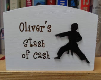 Personalised Karate Wooden Money Box - printed with and name and any wording