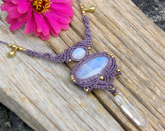 Macrame necklace, with MOON STONE  and crystal QUARTZ , fairy necklace, with nickel free brass, mystic jewelry, tribal necklace