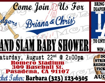 Set of (8) LA Dodgers Baby Shower Invitations