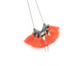 Ginger Necklace, Ornage Tassels, Handmade Jewelry, Boho Necklace, Silver Necklace, Everyday Necklace, Summer Jewelry, Orange Necklace