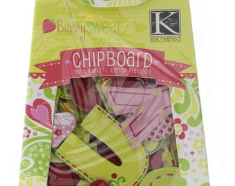 K & Company Berry Sweet Chipboard 100pc set  Glitter Alphabet Letters