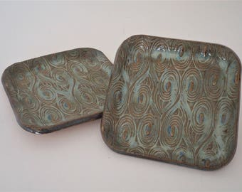Pair of handmade square trays with peacock detail in blue