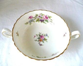 Sugar Bowl Gift, English Porcelain, Vintage Sugar Bowl, White Sugar Bowl Gold Trim Floral Design