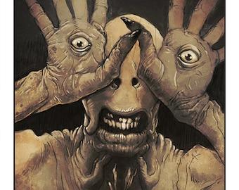 "Pan's Labyrinth - The Pale Man colour art print 10"" x 8"""