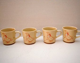 Coffee Cups Set of Four 6 Ounce Stoneware with Goose Pattern by Corning USA