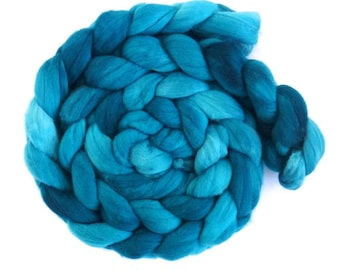 Zeal for Teal, Rambouillet Wool Roving - Hand Painted Spinning or Felting Fiber
