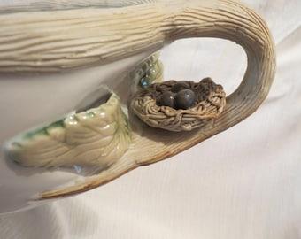 "Bird's Nest with Eggs Oblong Casserole Dish Pottery 14.5""L UNUSUAL"