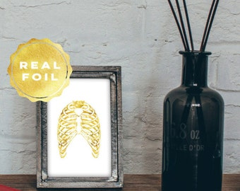 Real Gold Foil Rib Cage 4x6 - 5x7 - Anatomy Art - Medical Student Gift - Medical Office Decor - Anatomy Decor - Med Student