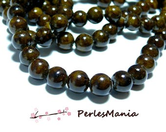 1 strand of approximately 65 beads Brown dyed jade rounds 6mm H271Y24