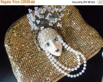 ON SALE Vintage Porcelaine Rhinestone Face Pin Brooch Faux Pearls