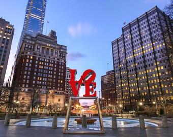 Philadelphia Love Park Black And White,color (30x40) ,Canvas Art,Art on Canvas,Prints,Center City.