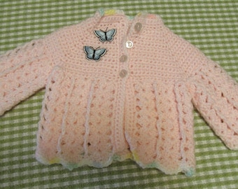 Vintage Infant Newborn Pink Crocheted Baby Sweater Butterfly Accents Handmade Retro