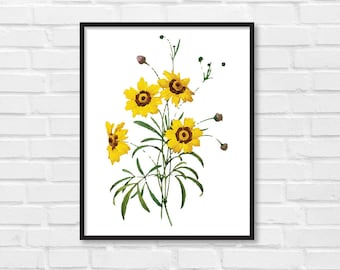 Floral Print / Botanical Print / Floral Clipart / Vintage Flower Illustration Print / DIY / Yellow  Flowers / Floral Print / Art Print [28]