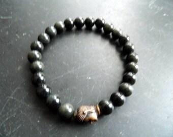 Bracelet, onyx, Black, Buddha, head, men, jewelry, biker