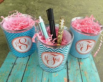 Monogrammed pencil cup, Personalized pencil cup, pen cup, desk accesory, monogrammed pen cup, personalized pencil cup, teacher gift