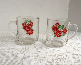 Poinsettia Drinking Glass Mugs / Vintage Christmas Glass Coffee Cups by Luminarc