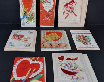 Vintage Valentine Greeting Cards Clearance Lot of 15 Eight Designs Teacher Mother Dad Daughter Unused NOS
