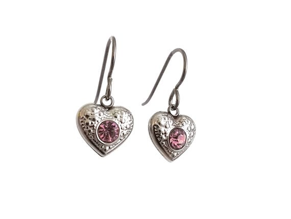 Pink rhinestone heart dangle earrings - Hypoallergenic pure titanium and stainless steel