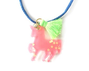 girl necklace - kids necklace - kids jewelry - girl gift - teen gift - wooden necklace - neon jewelry - unicorn necklace - trendy jewelry