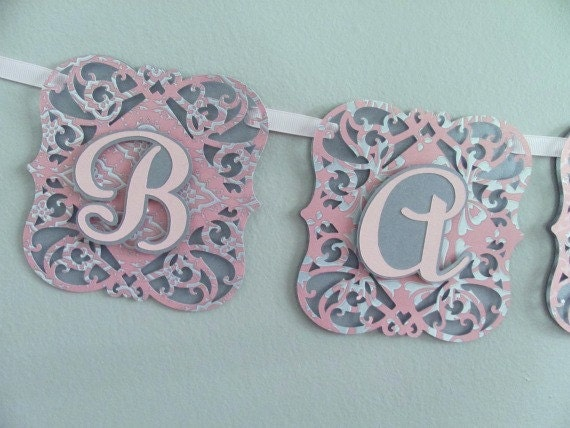 Baby Shower Banner, Silver and Pink Baby Shower Decoration, Baby Girl Banner