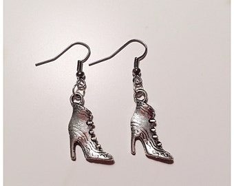 Vintage Style Silver Shoe Earrings