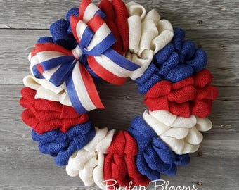 4th of July Wreath, Patriotic Wreath, Memorial Day Wreath, Burlap Wreath, Red White and Blue Wreath, Front Door Wreath