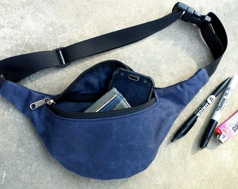 navy blue waxed canvas fanny pack handmade by me bum bag hip pouch