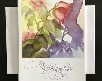 """FREE SHIPPING, Rose, """"Thinking Of You"""", Notecard, Blank Inside,  Nature, Flower, Purple Shadows, Watercolor fine Art Print Janet Dosenberry"""
