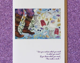 INTO THE WOODS faerie tale feet greeting card broadway musical i wish sondheim jack and the beanstalk cinderella red riding hood blank card