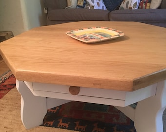 Farrow & Ball hand painted solid ash octagonal vintage coffee table