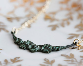 Art Deco Patina Necklace Gold Filled Chain Patina Floral Necklace Verdigris Patina Jewelry - N088