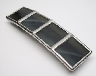 Smoke - Large Stained Glass French Barrette