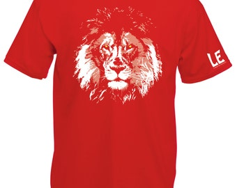 Lion tshirt - Save the rhino with LEO Africa. White lion on red shirt. Nature lover or animal activist gift. Save wild animals statement tee