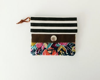 Mini Minimalist Wallet. Petite wallet. Small women's wallet. Black and white stripes. Bold floral print.
