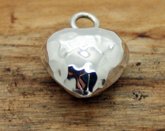 Sterling Silver Small Puffed Hammered Heart Pendant  with chain (NA22)