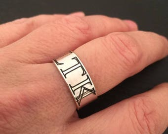 Silver Band Ring, Engraved ring, Personalized Sterling silver Handmade rings, Unisex ring, silver stacking ring, silver wedding band