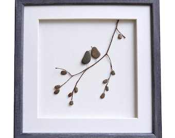 Pebble Art Love Birds, Romantic gift for couple, 3D Art, New home housewarming gift, Beach Stone Artwork, Unique Home Decor, Framed Wall Art