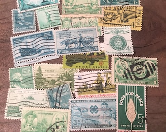 Stamps Vintage Postage Cancelled Stamps Stamps for Art Journaling Green Stamps Old Stamps Used Stamps Planner Stamps Smash Junk Journal Art